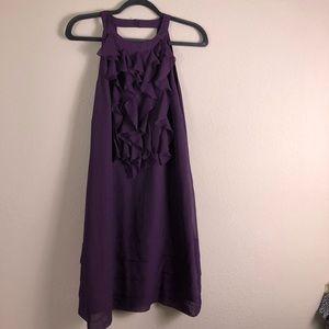 🛍 KENAR Purple Ruffle Front High Neck Dress 10